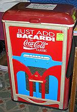 Vintage style Coca-Cola and Bacardi radio shaped drink cooler