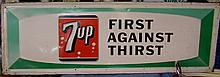 Antique 7UP advertising store display sign all tin
