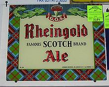 Rheingold Scotch Ale reverse painted advertising sign