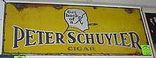 Antique enamel over steel advertising sign for Peter Schuyler cigars