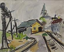 CHARLES HEINZ (1885-1955) Provincetown Train Yard, Mixed media