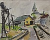 CHARLES HEINZ (1885-1955) Provincetown Train Yard, Mixed media