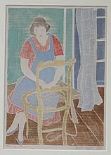 ANGELE MYRER (1896-1970), Caning Chair, 1957, White-line woodblock print