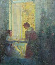 JANE JARVIS MUMFORD (early 20th c.), The Conversation, Paris, 1914, Oil,