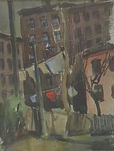 JOHN WHORF (1903-1959), Backyard Laundry, Tenement-NYC, Watercolor