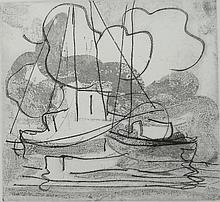 PAUL RESIKA (1928- ), Clouds and Boat 1, 3 of 5, 1997, Etching