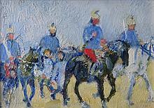 JANE JARVIS MUMFORD (early 20 c.), Cavalry, Oil on panel