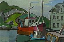 JOAN PEREIRA (1921--), Boats, Watercolor