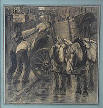 F. LUIS MORA (1874-1940), Loading the Wagon, Charcoal