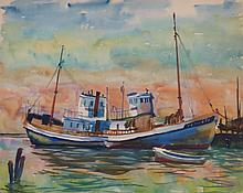 CHARLES DE CARLO (1911-2003), Oyster Boats-City Point, 1941, Watercolor,
