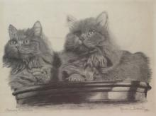 ROSINA J. BURNELL (American, 20th c.), Stephanie and Jennifer (cats), Graphite