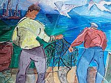HOPE PFEIFFER, (1891 - 1970) Bringing in the Nets, oil on board, framed