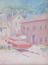 GRETA ALLEN (1881-1921), Provincetown Weir Pole Barge, watercolor, framed