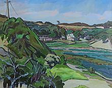 JOAN PEREIRA (1921- ), Perry Farm, Truro, from Corn Hill, framed
