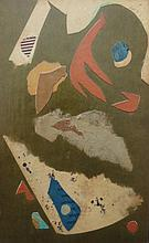 WILLIAM H. LITTLEFIELD (1902-1969), Timid & Fearful (The crows feet ARE around his eye), 1/16/57, collage laid on wood, framed