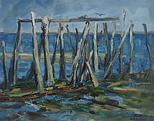 DAISY M. HUGHES (1882-1968), Pilings, oil on canvas, framed