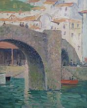 DAISY M. HUGHES (1882-1968), Bridge in Ondarroa, Spain, oil on canvas, framed