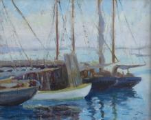 VOLLIAN RANN (1894-1969), Provincetown Harbor, oil on board, framed