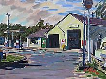 JOAN PEREIRA (1921- ), Sunny's Station, N. Truro, Oil on canvas, framed