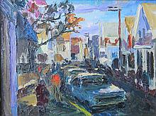 NANCY WHORF (1930-2009), Commercial Street, oil on board, framed