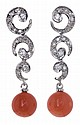 Diamonds and coral earrings