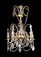 Spanish bronze ceiling light with strings of cut-crystal beads and teardrops, early 20th century 5 lights. Pendeloques of bunches of