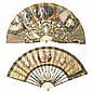 Two French fans with sticks in bone with silver-plated and gilt metal incrustations, 18th century Grounds in painted paper on the fro