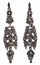 Silver long earrings, from the 19th Century
