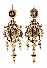 Diamond and dewdrop pearl earrings, circa 1870 Gold, enamel, diamonds, rose cut, 0.10 cts, and dewdrop pearls. 5.9 cm. 10.3 gr
