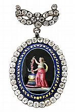French or Swiss brooch pendant, late 18th Century Silver and strass, with central medallion in painted enamel depicting a young woman a