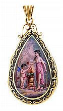 A picture-frame pendant with enamel, circa 1870