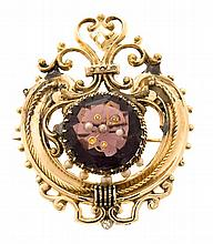 A set of earrings and a pendant brooch, circa 1870