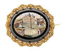 An Italian brooch with a micro-mosaic plaque, circa 1820