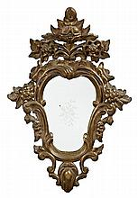 Pair of Spanish decorative mirrors in carved and gilded wood, late 19th century Flaws