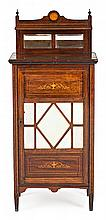 A rosewood Edwardian music cabinet with satin wood fillets and fine wood marquetry, from the early 20th Century Faults
