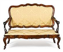 18th-Century-style couch from Majorca in carved and stained beech, first half of the 20th Century Upholstery detachable 94x63x125 cm