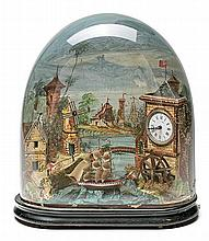 Automaton, animated landscape with clock in wood and cardboard, late 19th-early 20th Century French made. Manual wind clock with 24-hou