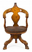 Victorian swivel chair in carved beech, second half of the 19th Century Studded leather seat 94x57x67 cm