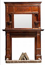 American walnut fireplace, second half of the 19th Century Front in red veined marble 245x170x56 cm
