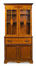 An English writing desk-bookcase in satin with ebony fillets, from the early 20th Century Writing desk inside