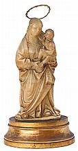Spanish school, probably Aragonese, 16th century, , Virgin with the Child, Sculpture in carved alabaster with wooden pedestal, Horizont