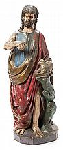 Northern Spanish school, 17th century, , Saint John the Baptist, Sculpture in carved polychrome wood, Damage to the arm and losses of p