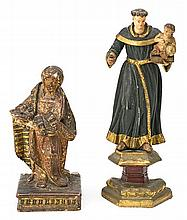 Spanish school of the 17th and 18th Centuries Saint Lucy and Saint Anthony of Padua Two sculptures in carved, polychrome, gilded and
