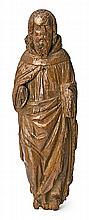 Spanish school of the 16th Century Holy Monk Sculpture in carved wood 58 cm high