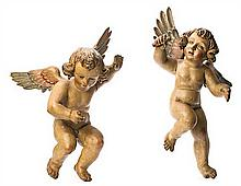 Spanish school of the 17th Century Angels Pair of sculptures in carved, gilded and polychrome wood 67 cm max. height