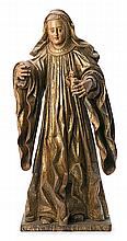Spanish school of the 17th Century Saint Gertrude of Nivelles Sculpture in carved, gilded and polychrome wood 85x36x24 cm (total)