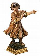 Spanish school, first half of the 18th Century Tobias Sculpture in carved, gilded and polychrome wood 63.5 cm high