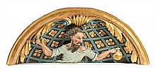 Spanish school of the 18th and 19th Centuries God the Father High relief in polychrome wood 59x149.5x26 cm