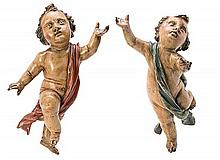 Attributed to the 18th Century Spanish school Angels A pair of sculptures in carved and polychromed wood