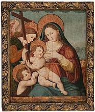 Valencian school from the mid 16th Century. Circle of Vicente Macip The Nursing Virgin with the Child and Saint John Oil on board